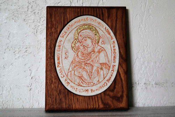 Икона Жировицкой (Жировичской) Божией Матери № 41 из мрамора, камня, изображение, фото 1