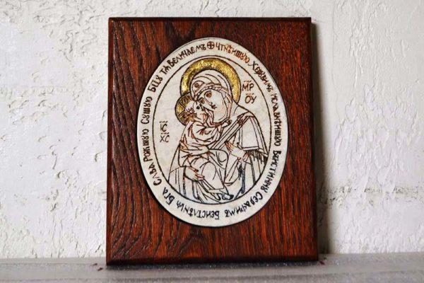 Икона Жировицкой (Жировичской) Божией Матери № 42 из мрамора, камня, изображение, фото 1