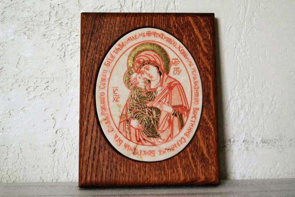 Икона Жировицкой (Жировичской) Божией Матери № 43 из мрамора, камня, изображение, фото 1