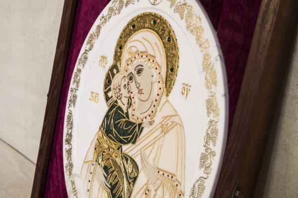 Икона Жировицкой (Жировичской) Божией Матери № п-25 из мрамора, камня, изображение, фото 4