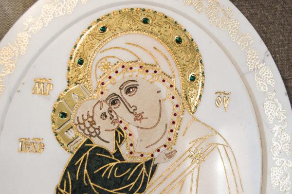 Икона Жировицкой (Жировичской) Божией Матери № п-25 из мрамора, камня, изображение, фото 12