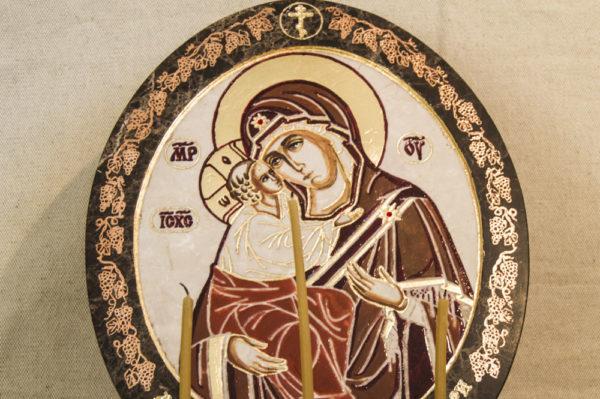 Икона Жировицкой (Жировичской) Божией Матери № 47 из мрамора, камня, изображение, фото 3