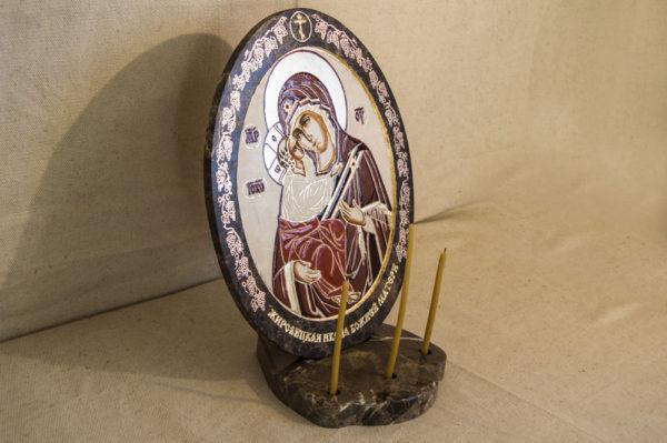 Икона Жировицкой (Жировичской) Божией Матери № 47 из мрамора, камня, изображение, фото 1