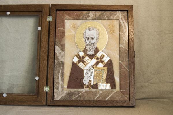 Икона Николая Чудотворца (Угодника) инд.№ 07 из мрамора, камня, изображение, фото 7