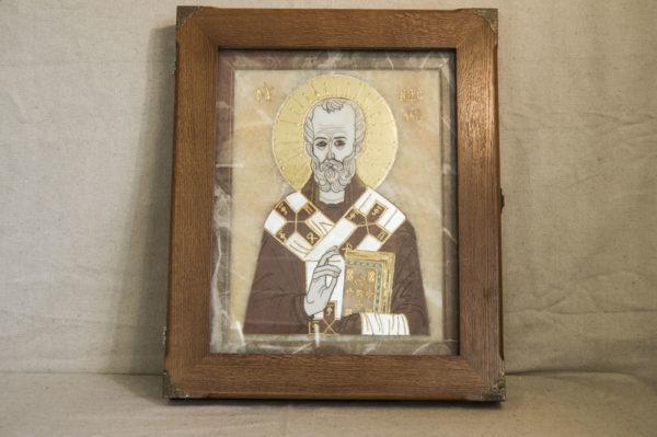 Икона Николая Чудотворца (Угодника) инд.№ 07 из мрамора, камня, изображение, фото 4