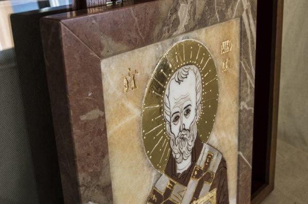 Икона Николая Чудотворца (Угодника) инд.№ 07 из мрамора, камня, изображение, фото 5