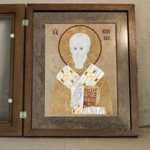 Икона Николая Чудотворца (Угодника) инд.№ 08 из мрамора, камня, изображение, фото 3