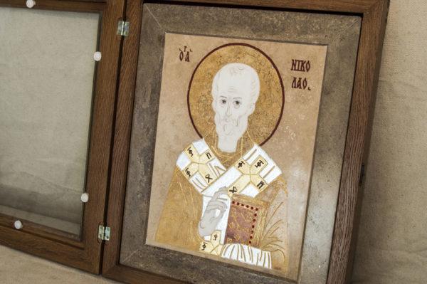 Икона Николая Чудотворца (Угодника) инд.№ 08 из мрамора, камня, изображение, фото 1