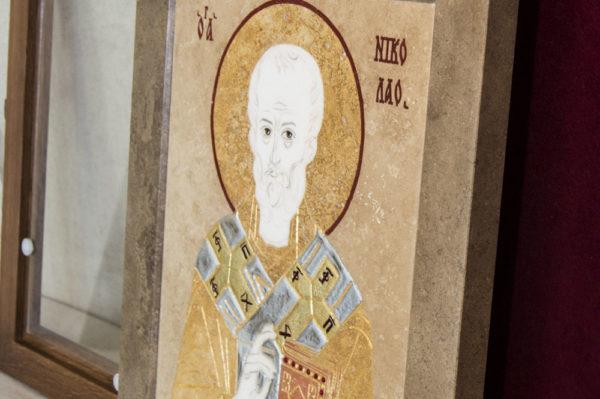 Икона Николая Чудотворца (Угодника) инд.№ 08 из мрамора, камня, изображение, фото 2