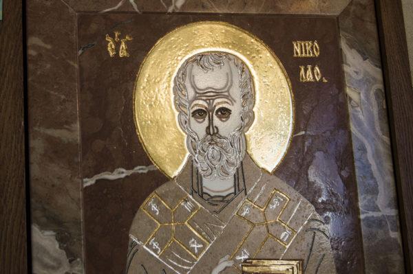 Икона Николая Чудотворца (Угодника) инд.№ 09 из мрамора, камня, изображение, фото 7