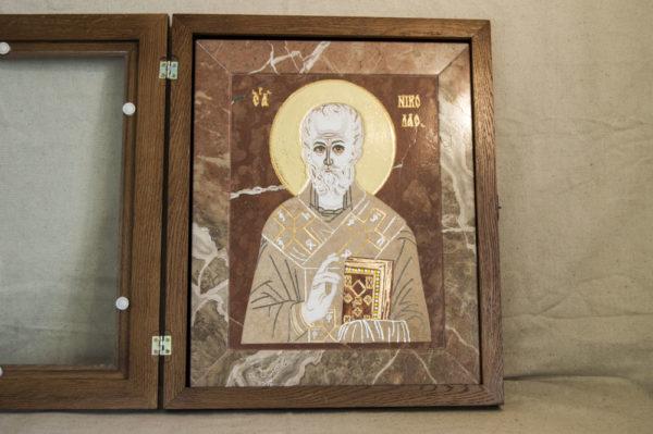 Икона Николая Чудотворца (Угодника) инд.№ 09 из мрамора, камня, изображение, фото 2