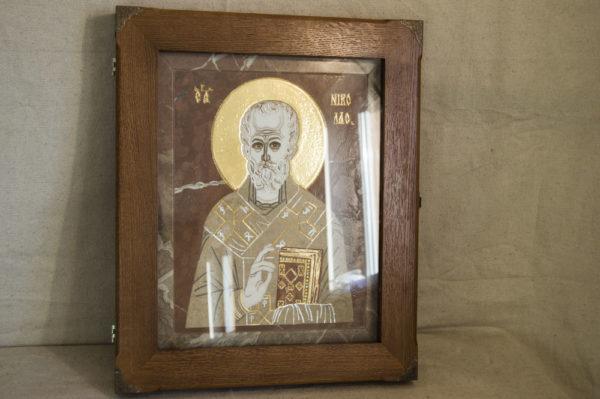 Икона Николая Чудотворца (Угодника) инд.№ 09 из мрамора, камня, изображение, фото 4