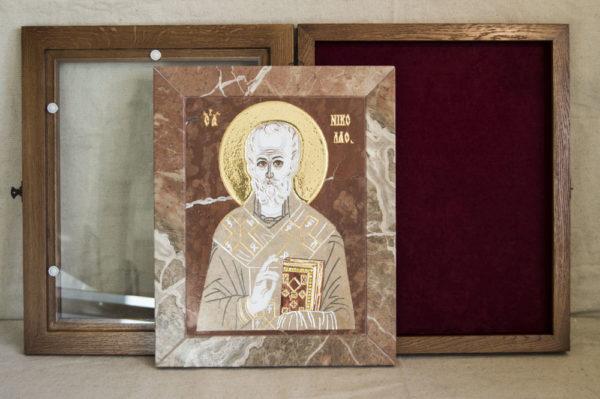 Икона Николая Чудотворца (Угодника) инд.№ 09 из мрамора, камня, изображение, фото 6