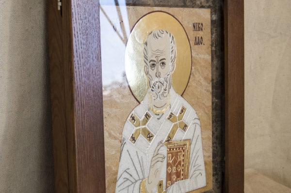 Икона Николая Чудотворца (Угодника) инд.№ 10 из мрамора, камня, изображение, фото 9