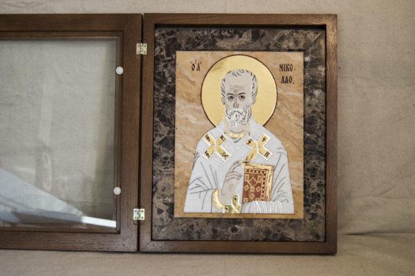 Икона Николая Чудотворца (Угодника) инд.№ 10 из мрамора, камня, изображение, фото 8