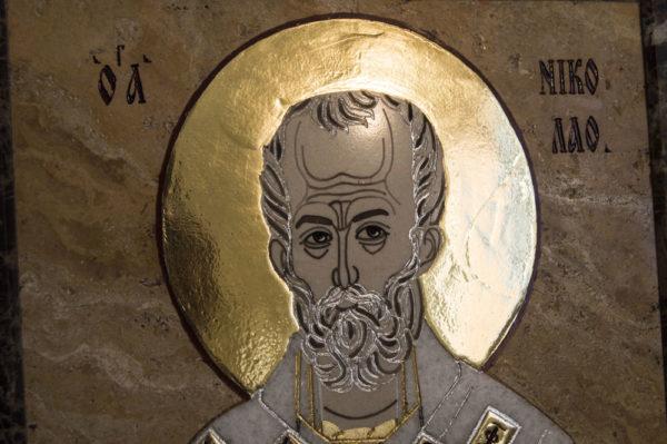 Икона Николая Чудотворца (Угодника) инд.№ 10 из мрамора, камня, изображение, фото 5