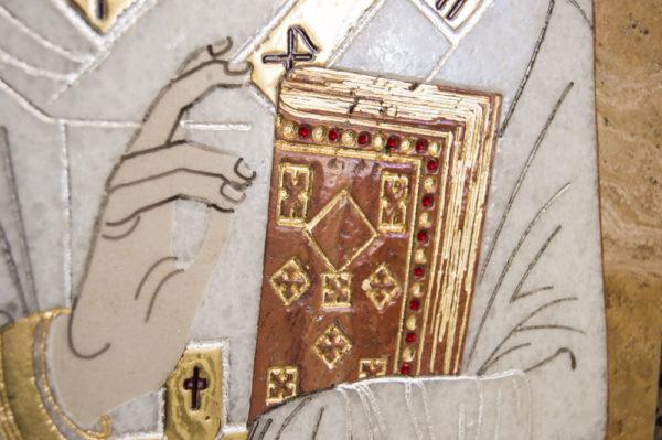 Икона Николая Чудотворца (Угодника) инд.№ 10 из мрамора, камня, изображение, фото 6