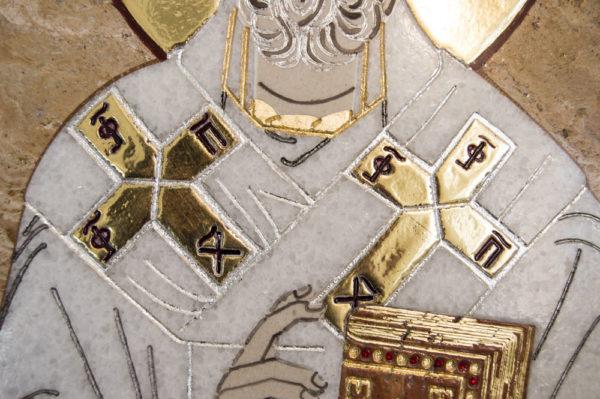 Икона Николая Чудотворца (Угодника) инд.№ 10 из мрамора, камня, изображение, фото 2