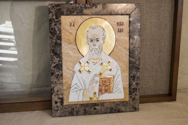 Икона Николая Чудотворца (Угодника) инд.№ 10 из мрамора, камня, изображение, фото 7