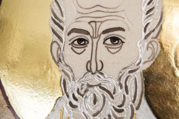 Икона Николая Чудотворца (Угодника) инд.№ 10 из мрамора, камня, изображение, фото 4