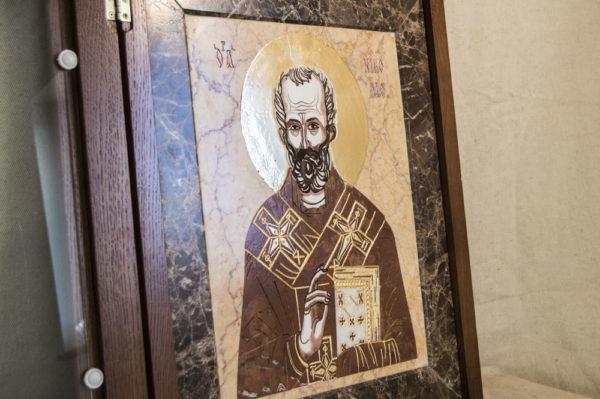 Икона Николая Чудотворца (Угодника) инд.№ 11 из мрамора, камня, изображение, фото 6