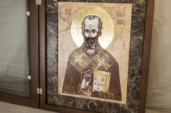 Икона Николая Чудотворца (Угодника) инд.№ 11 из мрамора, камня, изображение, фото 8