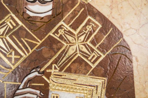 Икона Николая Чудотворца (Угодника) инд.№ 11 из мрамора, камня, изображение, фото 3