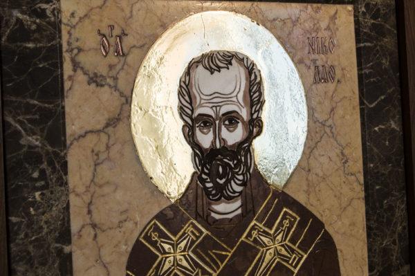 Икона Николая Чудотворца (Угодника) инд.№ 11 из мрамора, камня, изображение, фото 2
