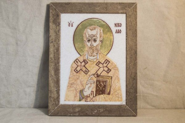 Икона Николая Чудотворца (Угодника) инд.№ 12 из мрамора, камня, изображение, фото 2