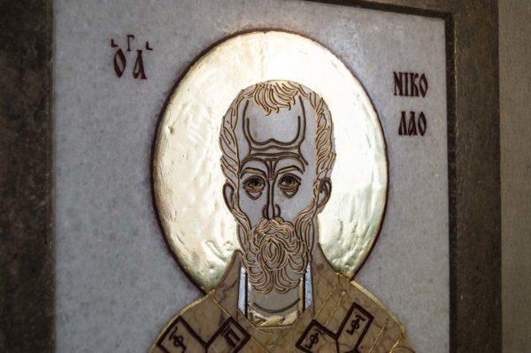 Икона Николая Чудотворца (Угодника) инд.№ 12 из мрамора, камня, изображение, фото 3