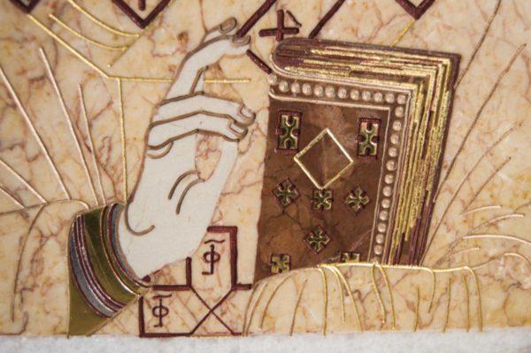 Икона Николая Чудотворца (Угодника) инд.№ 12 из мрамора, камня, изображение, фото 1