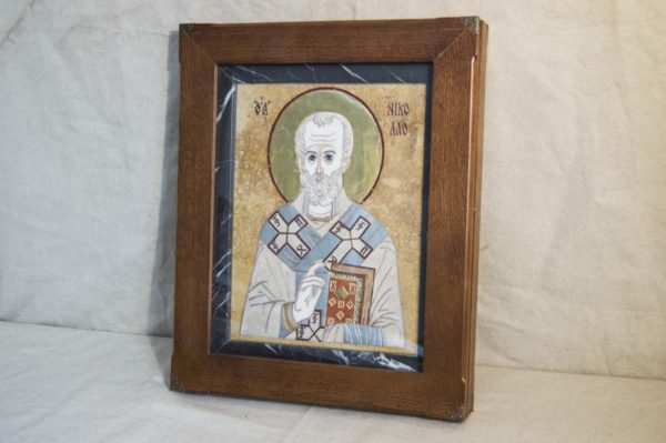 Икона Николая Чудотворца (Угодника) инд.№ 13 из мрамора, камня, изображение, фото 4