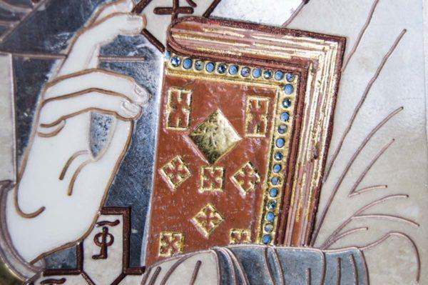 Икона Николая Чудотворца (Угодника) инд.№ 13 из мрамора, камня, изображение, фото 7