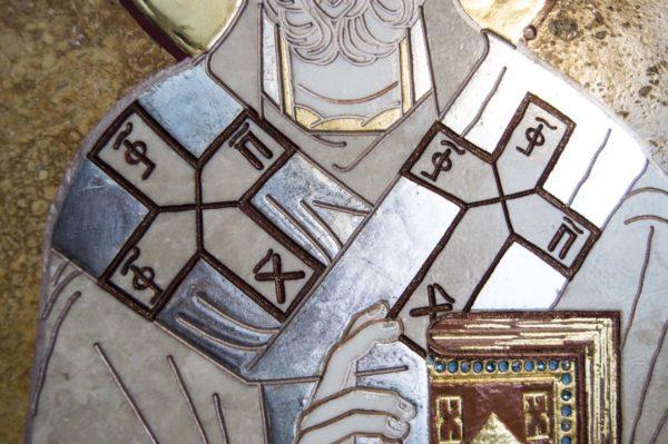 Икона Николая Чудотворца (Угодника) инд.№ 13 из мрамора, камня, изображение, фото 5