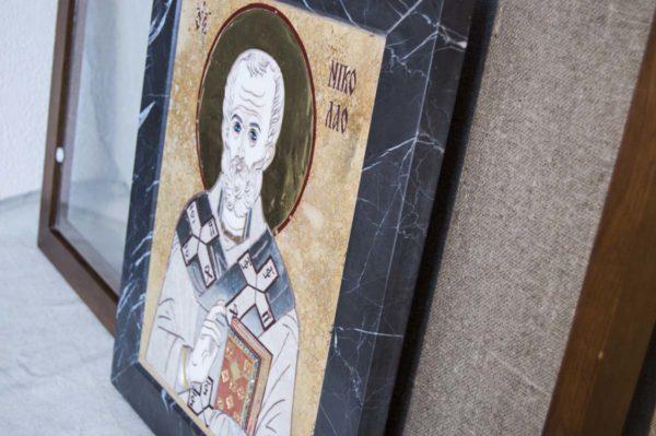 Икона Николая Чудотворца (Угодника) инд.№ 13 из мрамора, камня, изображение, фото 6
