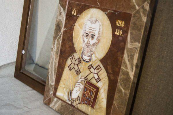 Икона Николая Чудотворца (Угодника) инд.№ 14 из мрамора, камня, изображение, фото 1