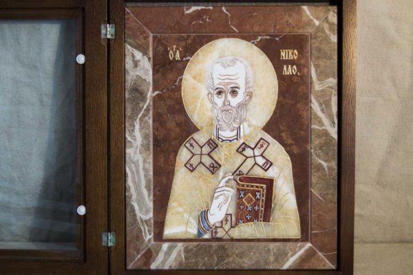 Икона Николая Чудотворца (Угодника) инд.№ 14 из мрамора, камня, изображение, фото 8