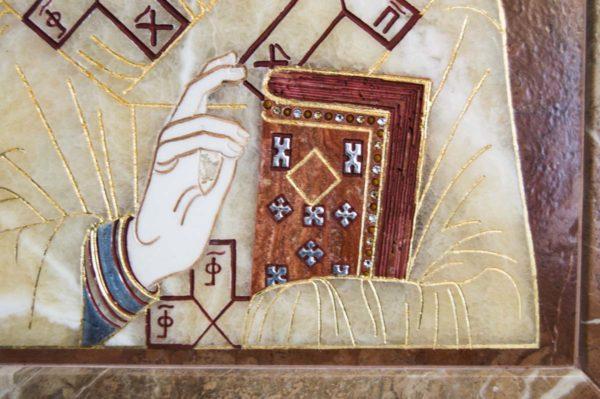Икона Николая Чудотворца (Угодника) инд.№ 14 из мрамора, камня, изображение, фото 2