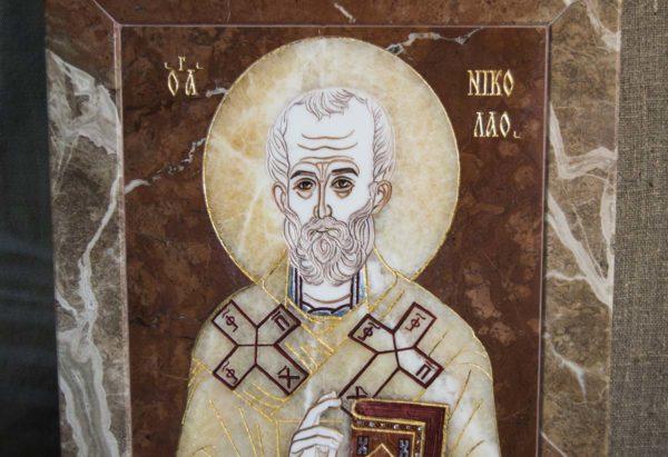 Икона Николая Чудотворца (Угодника) инд.№ 14 из мрамора, камня, изображение, фото 4