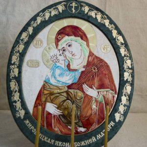 Икона Жировицкой (Жировичской) Божией Матери № 50 из мрамора, камня, изображение, фото 3