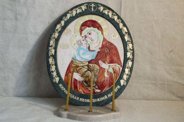 Икона Жировицкой (Жировичской) Божией Матери № 50 из мрамора, камня, изображение, фото 4