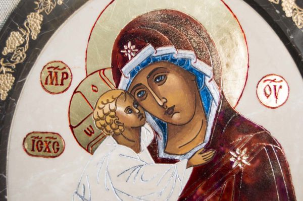 Икона Жировицкой (Жировичской) Божией Матери № 52 из мрамора, камня, изображение, фото 1