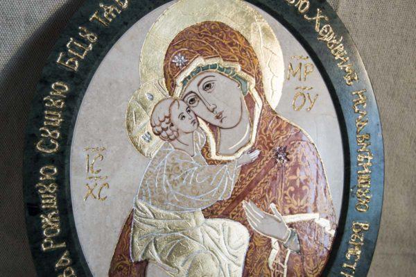 Икона Жировицкой (Жировичской) Божией Матери № 10 из мрамора, камня, изображение, фото 3