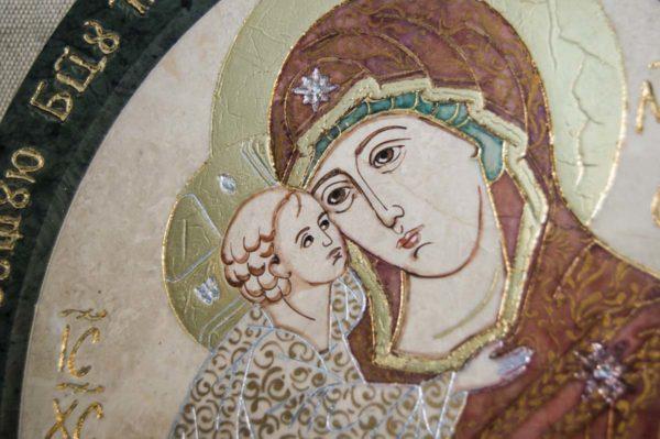 Икона Жировицкой (Жировичской) Божией Матери № 10 из мрамора, камня, изображение, фото 1