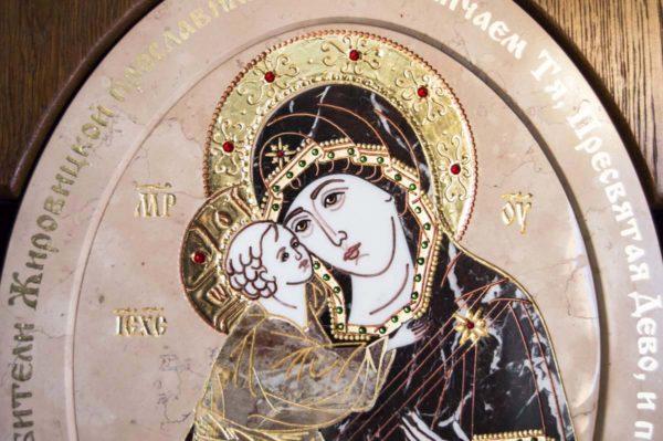 Икона Жировицкой (Жировичской) Божией Матери № п-26 из мрамора, камня, изображение, фото 3
