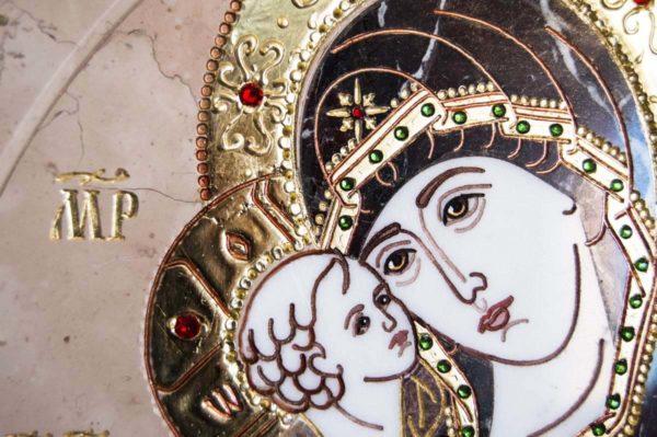 Икона Жировицкой (Жировичской) Божией Матери № п-26 из мрамора, камня, изображение, фото 4
