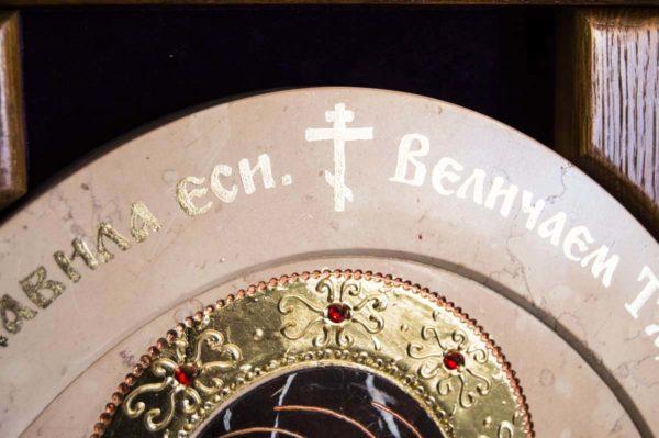 Икона Жировицкой (Жировичской) Божией Матери № п-26 из мрамора, камня, изображение, фото 5