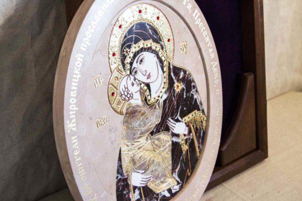 Икона Жировицкой (Жировичской) Божией Матери № п-26 из мрамора, камня, изображение, фото 1