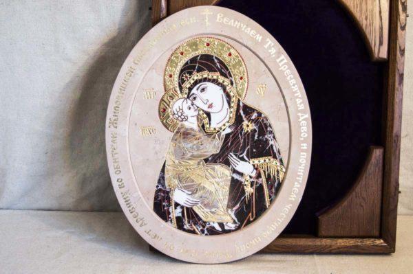 Икона Жировицкой (Жировичской) Божией Матери № п-26 из мрамора, камня, изображение, фото 2