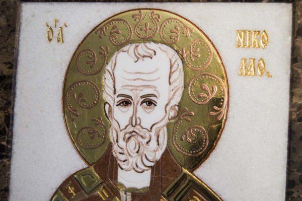 Икона Николая Чудотворца (Угодника) инд.№ 15 из мрамора, камня, изображение, фото 4